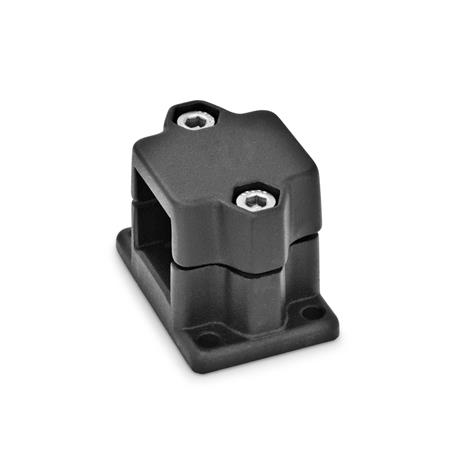 GN 147 Flanged connector clamps, Aluminium Finish: SW - black, RAL 9005, textured finish