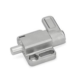 GN 722.3 Stainless Steel Spring Latches with Flange for Surface Mounting, Parallel to the Plunger Pin Type: R - Right indexing cam