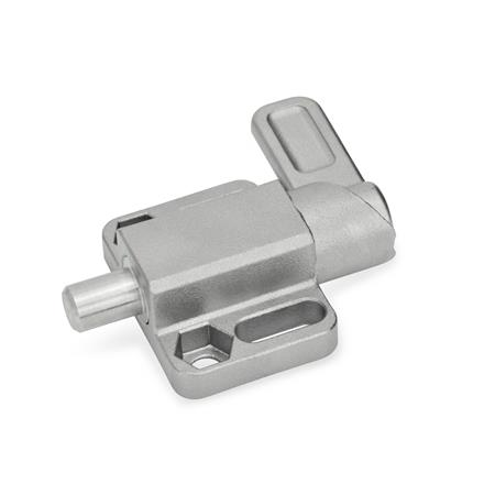 GN 722.3 Stainless Steel-Spring latches with flange for surface mounting, parallel to the plunger pin Type: R - right indexing cam