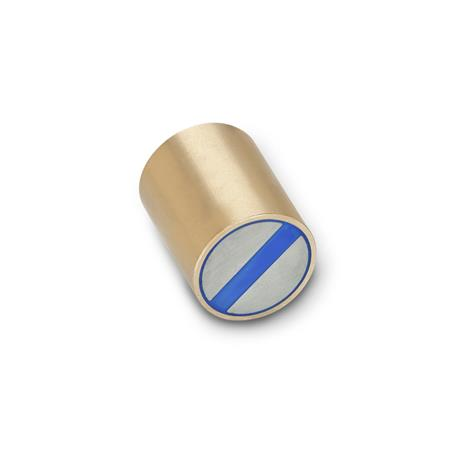 GN 54.1 Retaining magnets, smooth finish, Brass Material of the magnet: ND - NdFeB