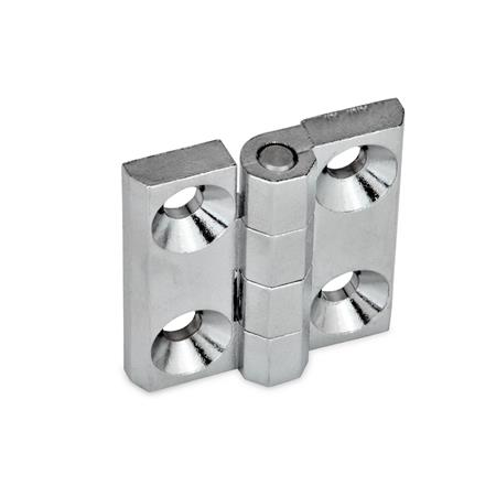 GN 237 Hinges, Zinc die casting / Aluminum Material: ZD - Zinc die casting Type: A - 2x2 bores for countersunk screws Finish: CR - chrome-plated