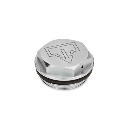GN 742 Threaded plugs with and without symbols, Viton-Seal, Aluminium, resistant up to 180°C, blank Type: AS - with DIN drain symbol, blank Identification no.: 2 - with vent drilling