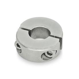 GN 7072.3 Split Stainless Steel-Shaft collars, with dampening washer
