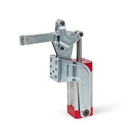 GN 862 Toggle Clamps, Pneumatic, with Angled Base Type: EPV - Solid clamping arm, with clasp for welding