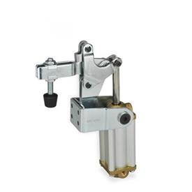 GN 862 Toggle clamps, pneumatic, with angled base, with magnetic piston Type: CPV3 - U-bar version, with two flanged washers and GN 708.1 spindle assembly