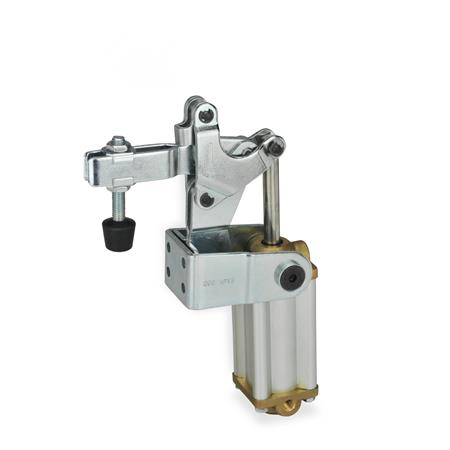 GN 862 Toggle clamps, pneumatic, with angled base, with magnetic piston Type: CPV3 - U-bar version, with two flanged washers and clamping screw GN 708.1