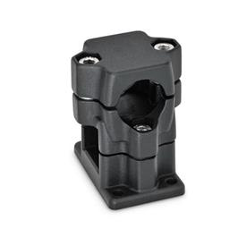 GN 141 Flanged two-way connector clamps, multi part assembly d<sub>1</sub> / s<sub>1</sub>: B - Bore<br />d<sub>2</sub> / s<sub>2</sub>: V - Square<br />Finish: SW - black, RAL 9005, textured finish