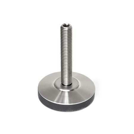 GN 6311.6 Edelstahl-Gelenkfüße Form: KR - mit Kunststoffkappe, rutschfest