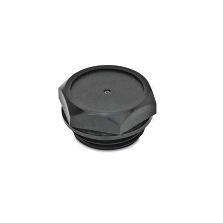 GN 745.2 Verschlussschrauben, Kunststoff Entlüftungsbohrung: 1 - ohne Entlüftungsbohrung