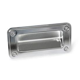 GN 7332 Stainless Steel-Gripping trays, screw-in type Type: A - Mounting from the operator's side (for identification no. 2 with four countersunk sealing screws)<br />Identification no.: 2 - with sealing<br />Finish: EP - electropolished