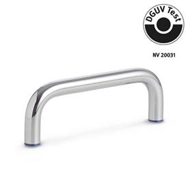 GN 429 Stainless Steel-Cabinet U-handles, Hygienic Design Finish: PL - polished (Ra < 0.8 µm)<br />Material (Sealing ring): H - Hydrogenated acrylonitrile butadiene rubber