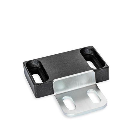 GN 4470 Magneettisalvat, kumitetulla magneettipinnalla Tyyppi: C2 - Magneettipinta sivussa, pitkittäisreiällä Tunniste: L2 - kosketuslevyllä, L-profiili, pitkittäisreiällä Pinta: SW - musta, RAL 9005, teksturoitu viimeistely