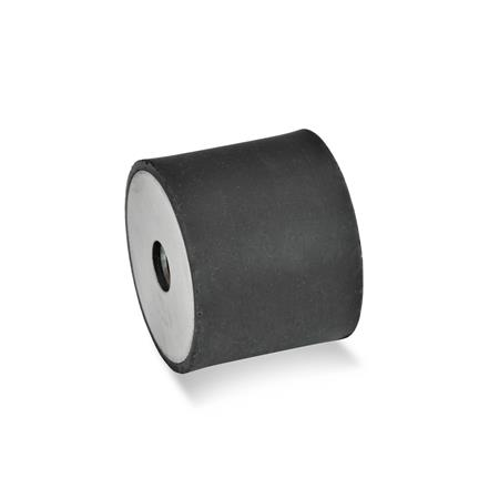 GN 451 Rubber buffers, Stainless Steel Type: EE - with 2 female threads