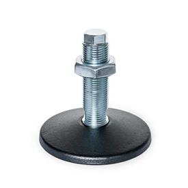 GN 36 Machine Feet, without Central Fastening Hole Type (Foot plate): A - Without rubber pad