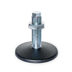 GN 36 Pieds de machine sans trou de fixation central Type (plaque d'assise): A - sans tampon en caoutchouc