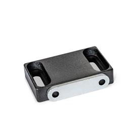 GN 4470 Magnetic catches, with rubberized magnetic surface Type: C2 - Magnetic surface laterally, with slotted hole<br />Identification: F - with contact plate, with countersunk hole<br />Finish: SW - black, RAL 9005, textured finish