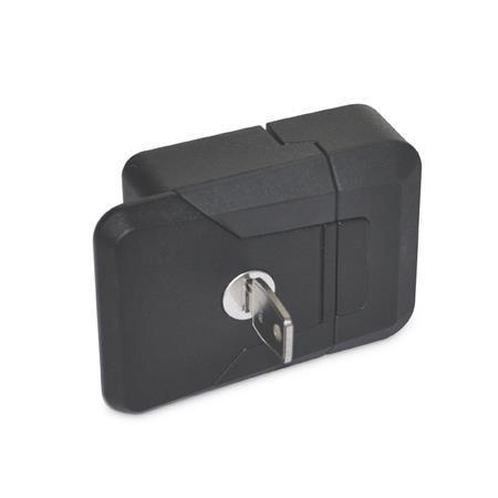 GN 936 Fallenverschlüsse, mit und ohne Schloss Form: SCL - abschließbar (Schloss einheitlich) Farbe: SW - schwarz, RAL 9005, strukturmatt