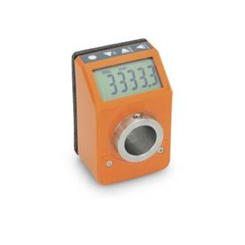 GN 9053 Position Indicators, Electronic, with LCD-Display (Digital Indication), 6 Digits Color: OR - orange, RAL 2004