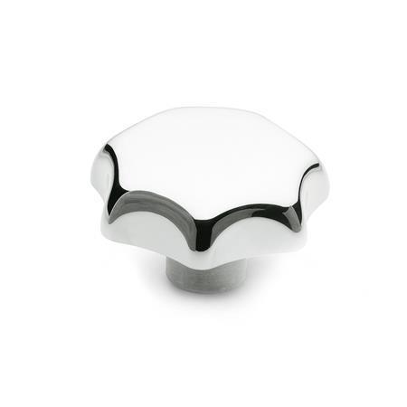 DIN 6336 Sterngriffe, Aluminium Form: C - mit Sackloch H7 Oberfläche: PL - poliert