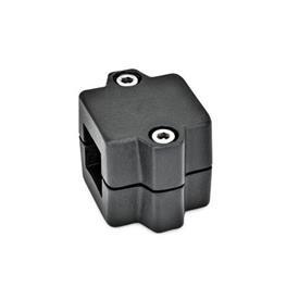 GN 241 Abrazaderas de manguito, aluminio d<sub>1</sub> / s: V - Orificio cuadrado<br />Acabado: SW - negro, RAL 9005, acabado texturado