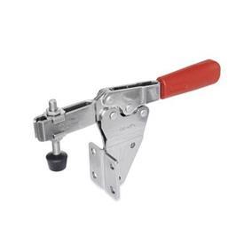 GN 820.2 Edelstahl-Schnellspanner, Spannhebel horizontal, für seitliche Montage Werkstoff: NI - Edelstahl<br />Form: MFC - offener Spannarm, mit 2 Flankenscheiben und Andrückschraube GN 708.1