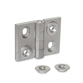 GN 127 Stainless Steel-Hinges, adjustable Material: A4 - Stainless Steel<br />Type: H - horizontally adjustable