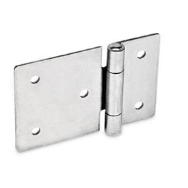 GN 136 Edelstahl-Blechscharniere, horizontal verlängert Werkstoff: NI - Edelstahl<br />Form: B - mit Durchgangsbohrungen