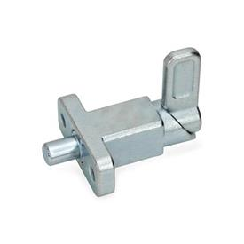 GN 722.2 Spring latches with flange for surface mounting, right-angled to the plunger pin Type: A - Latch position right-angled to fixing holes<br />Finish: ZB - zinc plated, blue passivated
