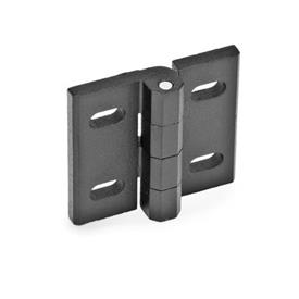GN 235 Hinges, adjustable, Zinc die casting Material: ZD - Zinc die casting<br />Type: B - vertical adjustable<br />Finish: SW - black, RAL 9005, textured finish