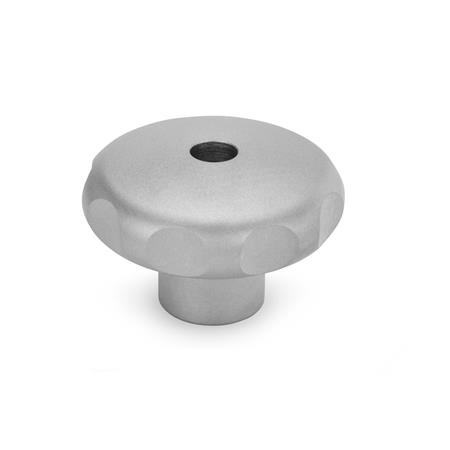 GN 5335 Stainless Steel-Star knobs, material no. AISI 303 (A1), matte shot-blasted Type: D - with threaded through bore