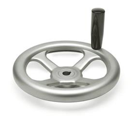 GN 227.2 Handwheels, pressed Stainless Steel, AISI 304 (A2) Bore code: K - with keyway<br />Type: D - with revolving handle