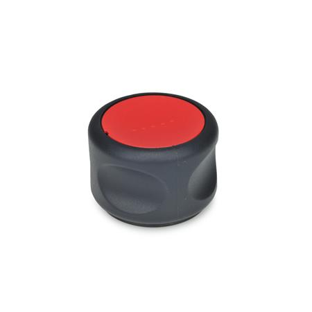 GN 624.5 Softline-Control knobs, plastic, bushing Stainless Steel Color of the cover cap: DRT - red, RAL 3000, matte