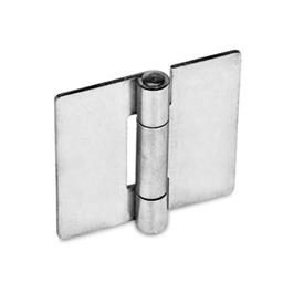 GN 136 Edelstahl-Blechscharniere, quadratisch oder vertikal verlängert Werkstoff: NI - Edelstahl<br />Form: A - ohne Bohrungen