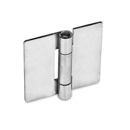 GN 136 Edelstahl-Blechscharniere, quadratisch oder vertikal verlängert Werkstoff: NI - Edelstahl Form: A - ohne Bohrungen