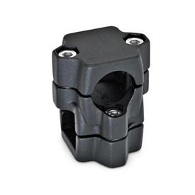 GN 134 Two-way connector clamps, multi part assembly, same bore dimensions d<sub>1</sub> / s<sub>1</sub>: B - Bore<br />d<sub>2</sub> / s<sub>2</sub>: V - Square<br />Finish: SW - black, RAL 9005, textured finish