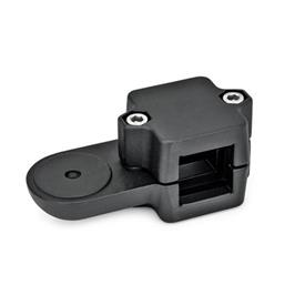 GN 279 Swivel clamp connectors Square s<sub>1</sub>: V 45<br />Finish: SW - black, RAL 9005, textured finish<br />Identification no.: 2 - with 2 Stainless Steel-clamping screws DIN 912<br />Type: OZ - without centring step (smooth)