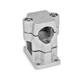 GN 141 Flanged two-way connector clamps, multi part assembly d<sub>1</sub> / s<sub>1</sub>: B - Bore<br />d<sub>2</sub> / s<sub>2</sub>: V - Square<br />Finish: BL - blank, tumbled