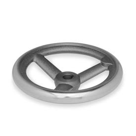 DIN 950 Handräder, Aluminium, Gusseisen Werkstoff: GG - Gusseisen<br />Bohrungskennzeichnung: K - mit Nabennut<br />Form: A - ohne Griff