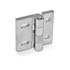 GN 235 Stainless Steel-Hinges, adjustable Material: NI - Stainless Steel<br />Type: DB - with through-holes, vertical adjustable<br />Finish: GS - matte shot-blasted