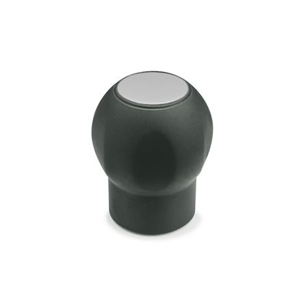 GN 675.1 Softline-Ball handles with cover cap, Plastic Color of the cover cap: DGR - gray, RAL 7035, matte
