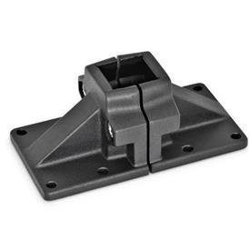 GN 167 Abrazaderas de conexión con placa base ancha, aluminio d<sub>1</sub> / s: V - Orificio cuadrado<br />Acabado: SW - negro, RAL 9005, acabado texturado