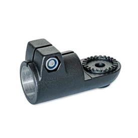 GN 276 Swivel clamp connectors, Aluminum Type: AV - with male serration<br />Finish: SW - black, RAL 9005, textured finish