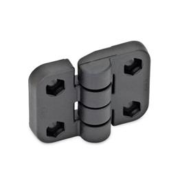 GN 158 Hinges, Plastic Type: B - 2x2 bores for hexagon screws