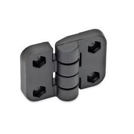GN 158 Scharniere, Kunststoff Form: B - 2x2 Bohrungen für Sechskantschrauben