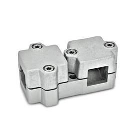 GN 194 Abrazaderas de conexión en ángulo, aluminio d<sub>1</sub> / s<sub>1</sub>: V - Orificio cuadrado<br />d<sub>2</sub> / s<sub>2</sub>: V - Orificio cuadrado<br />Acabado: BL - natural, granallado mate
