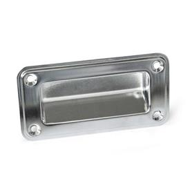 GN 7332 Stainless Steel-Gripping trays, screw-in type Type: A - Mounting from the operator's side (for identification no. 2 with four countersunk sealing screws)<br />Identification no.: 1 - without seal<br />Finish: EP - electropolished