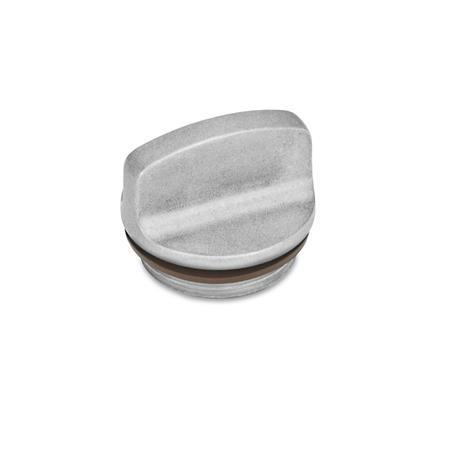 GN 442 Bouchons filetés jusqu'à 200°C, aluminium Perçage d'évent d'air: 1 - sans perçage d'évent Couleur: BL - blanc, baratté