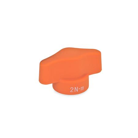 GN 5320 Écrous papillon à limiteur de couple Couleur: OR - orange, finition mat