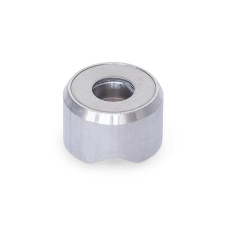 GN 6311.1 Stainless Steel-Thrust pads Type: P - Thrust pad surface with detent, without plastic cap Material: NI - Stainless Steel