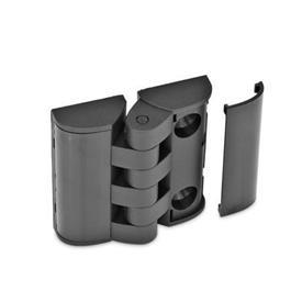 GN 151.3 Scharniere mit Abdeckung, Kunststoff Form: SH - 2x2 Bohrungen für Senkschrauben